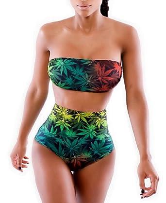 Marijuana leaf bikini