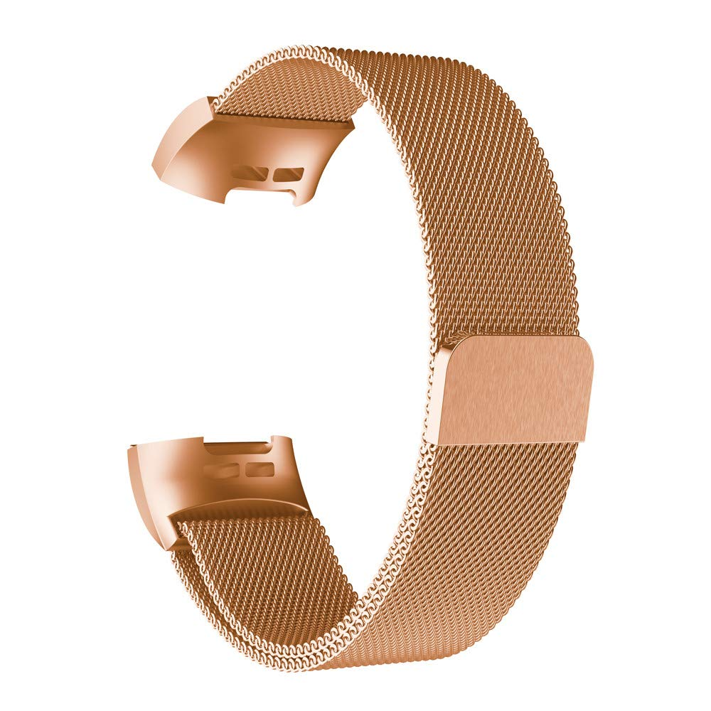 Bands for Fitbit Charge 3, Thing-ning Milanese Stainless Steel Watch Band Strap Bracelet for Fitbit Charge 3 (Rose Gold)