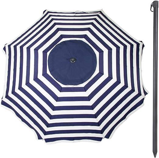 a Righe Bianche e Blu Ombrellone 240 cm Protezione UV30 Doppio Tetto Beach Aktive 62112