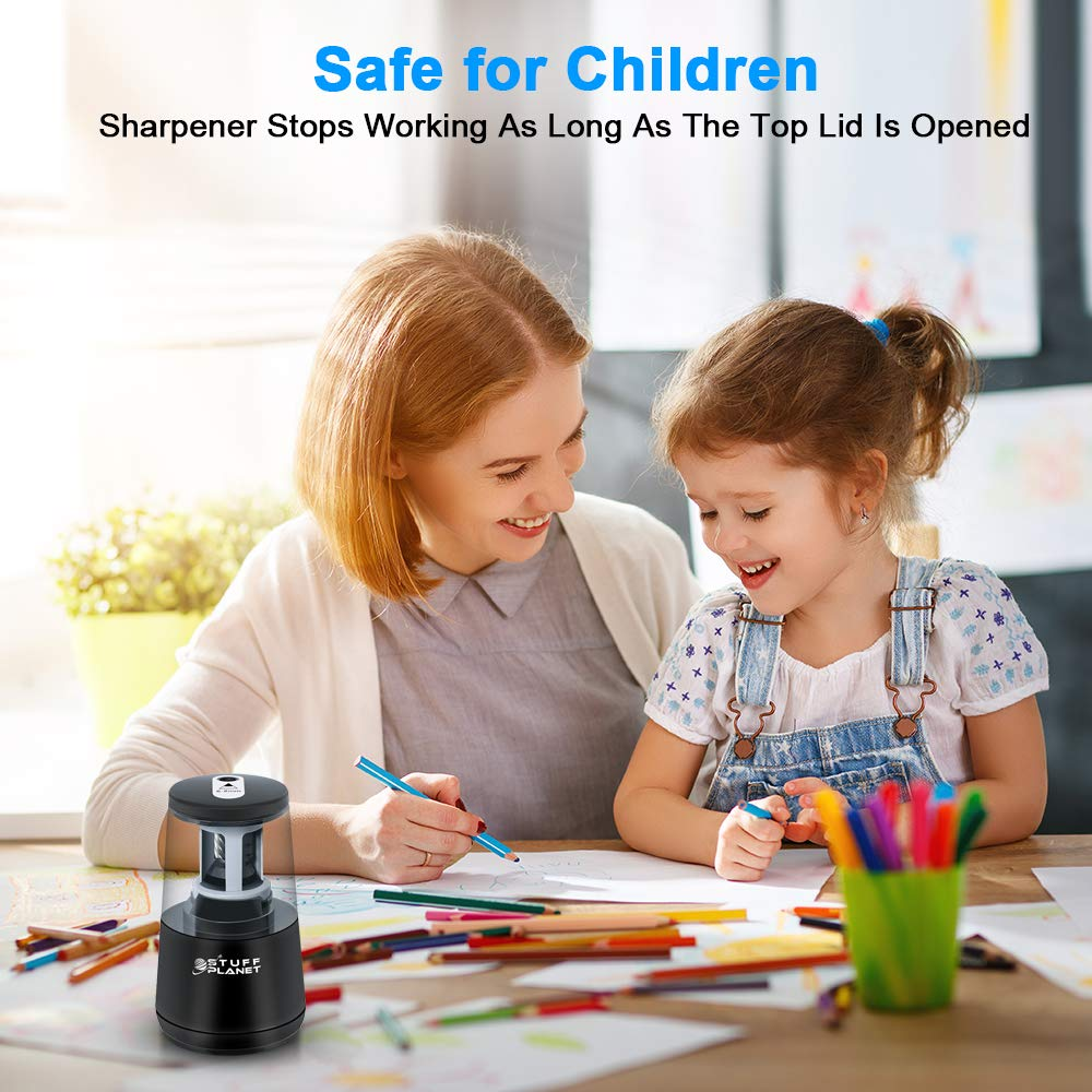 Stuff Planet Electric Pencil Sharpener,Heavy Duty Helical Blade,for School Classroom Office Home Kids Artists,AC Powered/USB/Battery Operated with Auto Stop Feature for No.2 and Colored Pencils(Black) by Stuff Planet (Image #5)