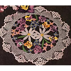 Vintage Crochet PATTERN to make - Flower Floral Bouquet Pansy Doily Daisy. NOT a finished item. This is a pattern and/or instructions to make the item only.