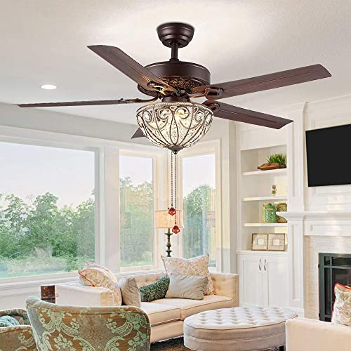 RainierLight Classical Crystal Ceiling Fan Lamp LED Light