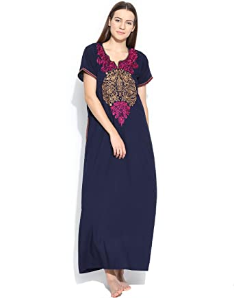 52df6c311d Sand Dune - Plain Straight Fit Night Gown for Womens - Nighty Fabric Bizzy  Lizzy - Ladies Maxi with ...