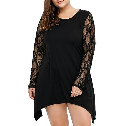 Blusas y camisas,Koly Cuello Redondo Mangas Largas Encaje Camisetas y tops Falda para Mujer
