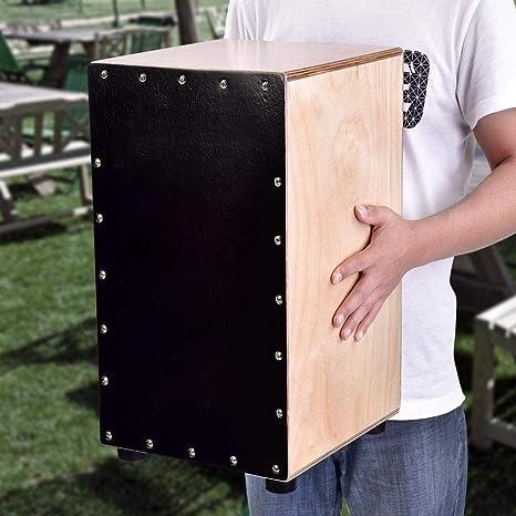 Cajón de Percusión con Funda, Caja Flamenca para Adultos Cajón Flamenco Rock de Cuerpo Madera de Abedul Natural Tapa Negra con Pies de Goma, 31 x 30 x 48cm: Amazon.es: Instrumentos musicales
