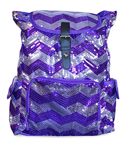 N. Gil Purple Silver Sequin Chevron Backpack School Bag