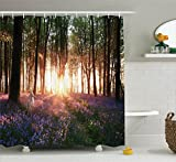 Ambesonne Farm House Decor Shower Curtain Set, Stunning Bluebell Woods Sunrise with White Rabbit Sunny Spring Day in Woodland, Bathroom Accessories, 69W X 70L inches, Purple Green