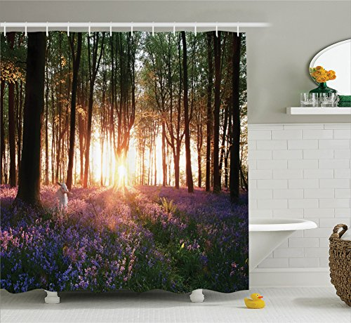 Ambesonne Farm House Decor Shower Curtain Set, Stunning Bluebell Woods Sunrise with White Rabbit Sunny Spring Day in Woodland, Bathroom Accessories, 69W X 70L inches, Purple Green by Ambesonne (Image #1)