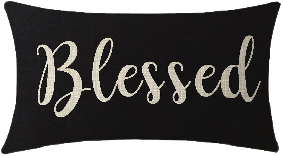 NIDITW Nice Gift Inspirational Blessed Letters Words Waist Lumbar Black Cotton Linen Throw Pillow case Cushion Cover for Sofa Home Decorative Oblong 12x20 Inches