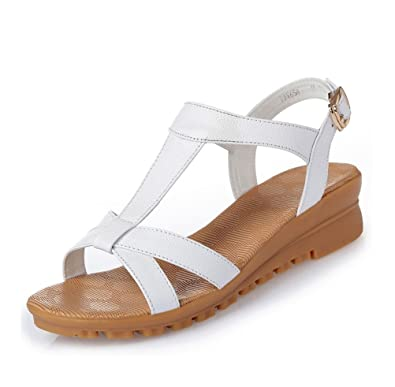 5953b5896 Always Pretty Womens Summer Sandals Wedge Heel Sandal Gladiator Summer Shoes  for Women White US 6