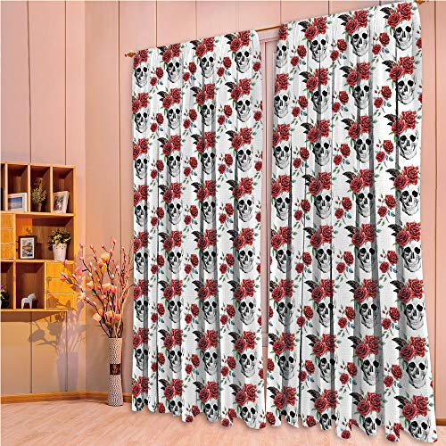 ZHICASSIESOPHIER Finel Kids Curtains for Living Room Bedroom Window Curtains Baby Room Lovely Children Curtains Drapes,Red Roses and Buds Gothic Halloween Pattern 84Wx63L -