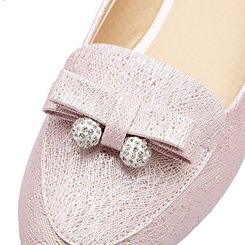 Allhqfashion Womens Pull-on Lage Hakken Pu Stevige Ronde-teen Pumps-schoenen Roze