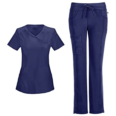 d15a4863639 Cherokee Infinity Women's Mock Wrap Scrub Top 2625A & Low Rise Drawstring Scrub  Pants 1123A Scrubs
