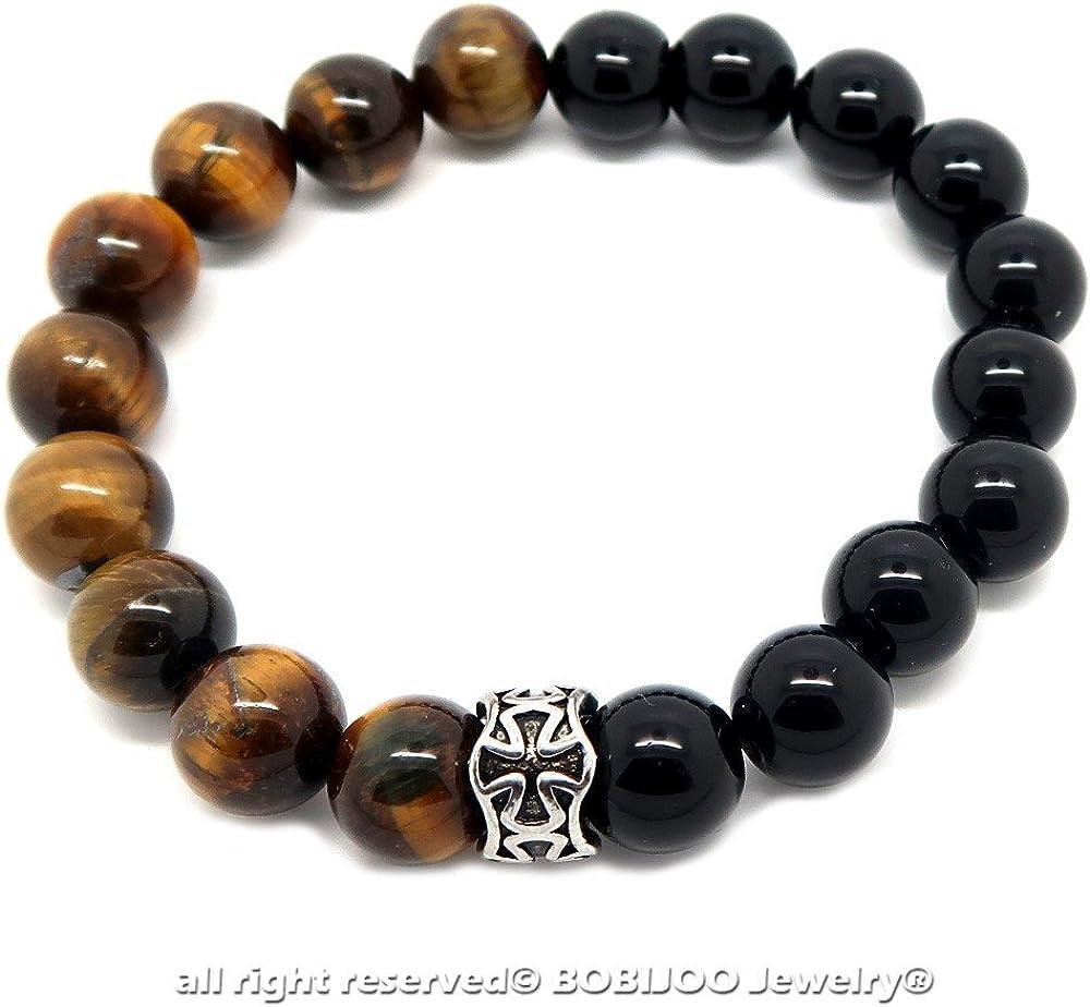 BOBIJOO Jewelry Onyx Noir Croix Patt/ée Templier Acier Bracelet Pierre Ronde 10mm Oeil de Tigre