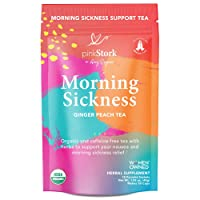 Pink Stork Morning Sickness Tea: Ginger Peach + USDA Organic + Nausea Relief + Supports Digestion & Hydration, Women-Owned, 30 Cups