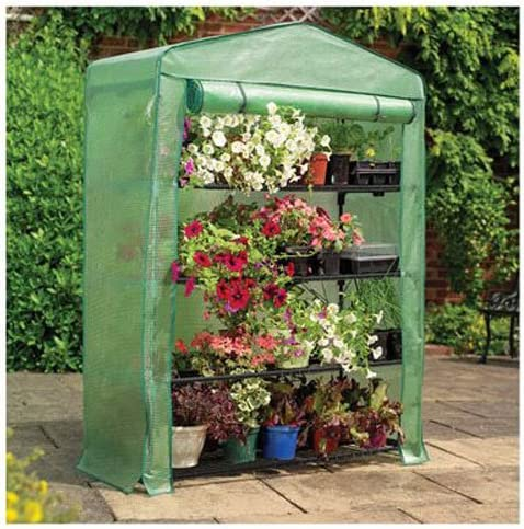 Gardman 7600 Extra Wide 4-Tier Greenhouse with Reinforced Cover, 18 Long x 47 Wide x 63 High