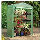 Gardman 7600 Extra Wide 4-Tier Greenhouse with Reinforced Cover, 18″ Long x 47″ Wide x 63″ High