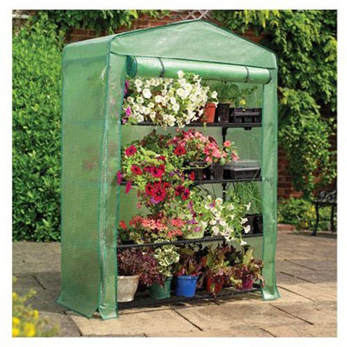 Gardman 7600 Extra Wide 4-Tier Greenhouse with Reinforced Cover, 18'' Long x 47'' Wide x 63'' High by Gardman