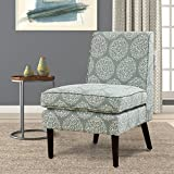 LSSBOUGHT Luxurious Fabric Armless Contemporary Accent Chair with Solid Wood Frame Legs (Flower)