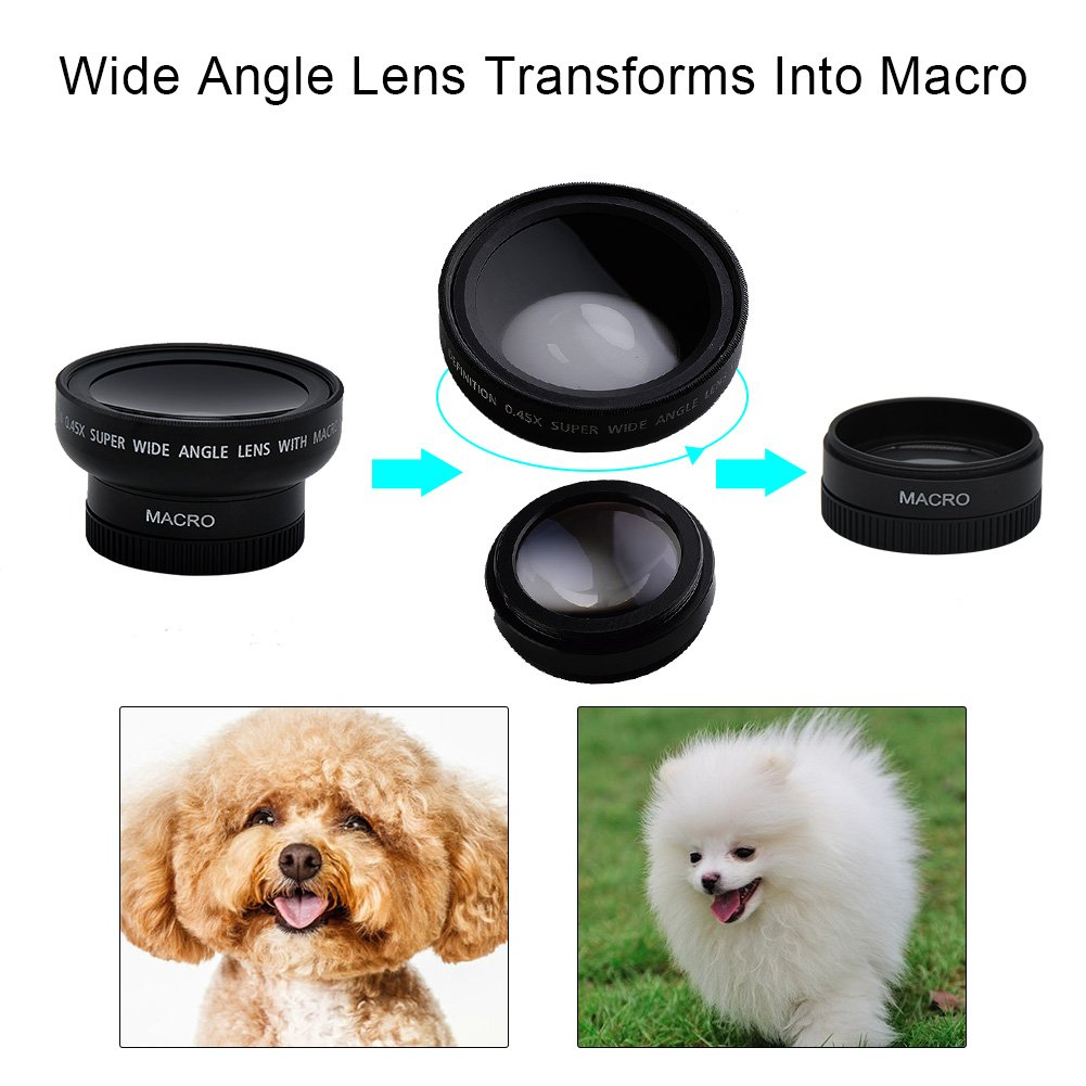 SEREE Wide Angle Macro Lens 0.45X 2-in-1 For Camcorder Camera Lens Kit Clip On Phone