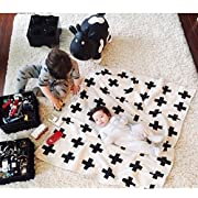 Baby Boy Blanket, CHICIEVE Soft Black and White Swiss Cross Toddler Blanket Unisex