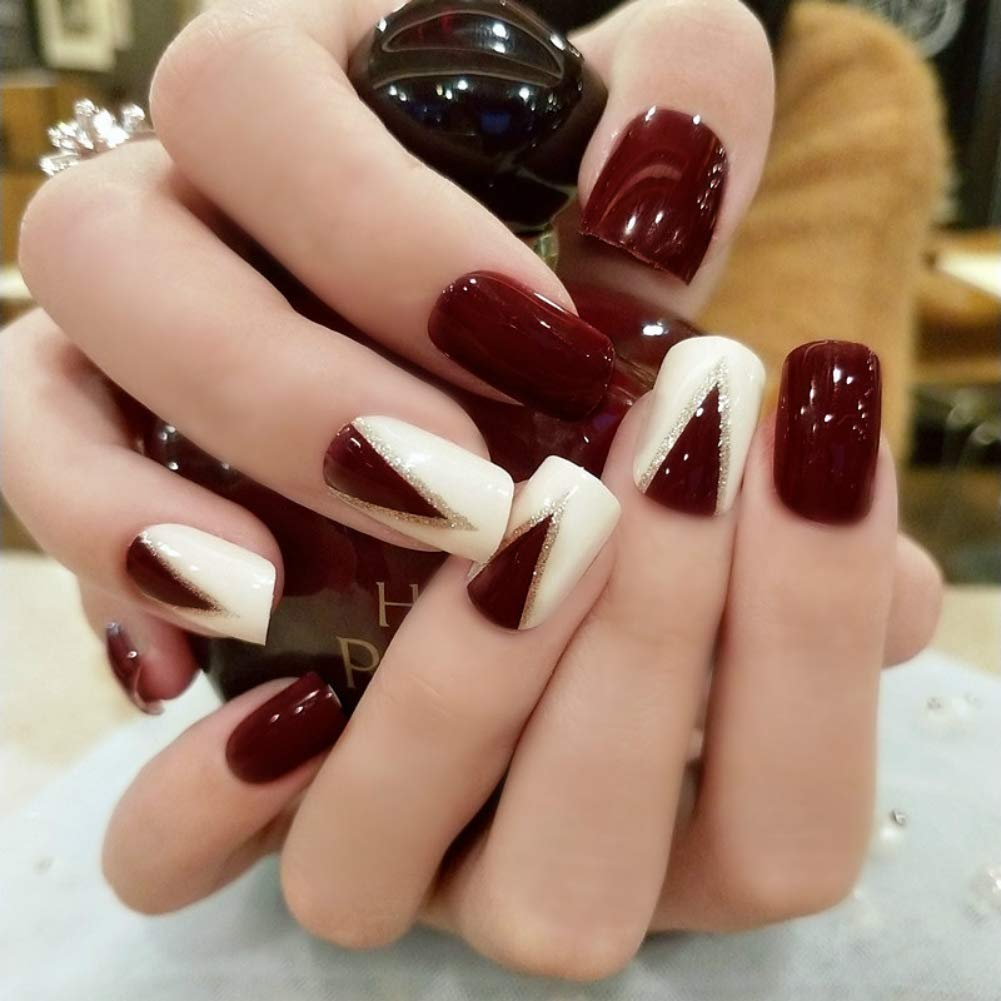 24pcs Fake Nails Dark Red and Beige False Nails Short Square Full Cover  Bride Nail Art Acrylic Artificial