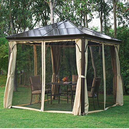 outsunny 10 x 10 aluminum hardtop gazebo w curtains and nets black brown beige gazebos. Black Bedroom Furniture Sets. Home Design Ideas
