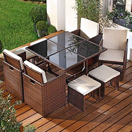 Discount Dining Sets - Tangkula 9 PCS Black Patio Garden Rattan Wicker Sofa Set Furniture Cushioned W/Ottoman (Brown)