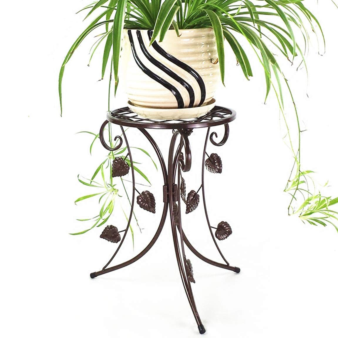 LRW European Style Iron Flower Rack, Simple Floor Type Indoor Living Room Balcony, Green Lounge, Orchid Flower Rack, Single Flower Rack, Brown.