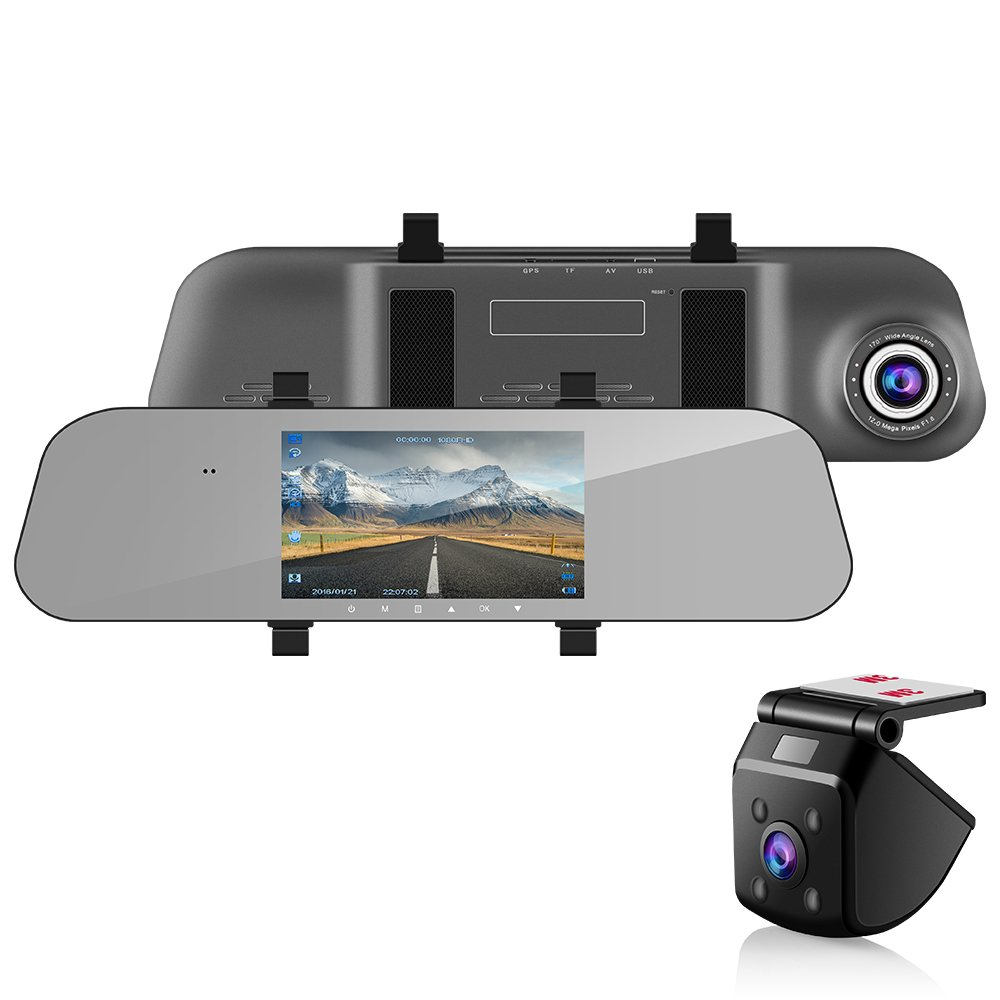 Emmabin 5'' Dual Lens Mirror Dash Cam AHD Reversing Backup Camera kit, 170° 1080P FHD Front Camera Monitor Recorder Dash Cam with 140° 720P Rear with Auto Brightness, Superior Night Mode, Adva