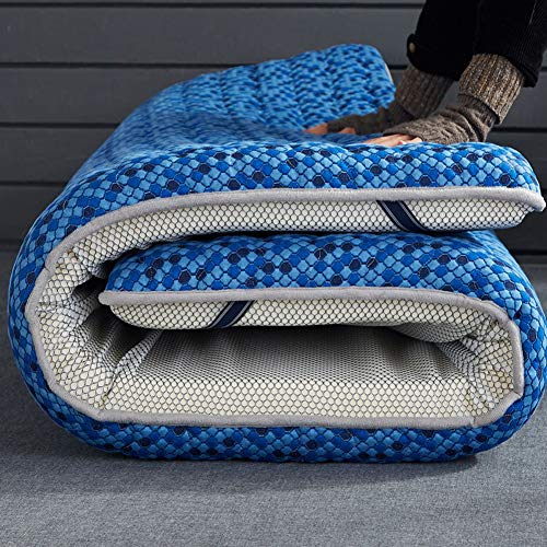 ZQ&QY Topper De Colchon De Latex Plegable, Espesar Respirable Espuma De La Memoria Colchones De Futon De Piso Piel-amistoso Dormir Colchoneta Tatami-azul-10cm 150x190cm(59x75inch)