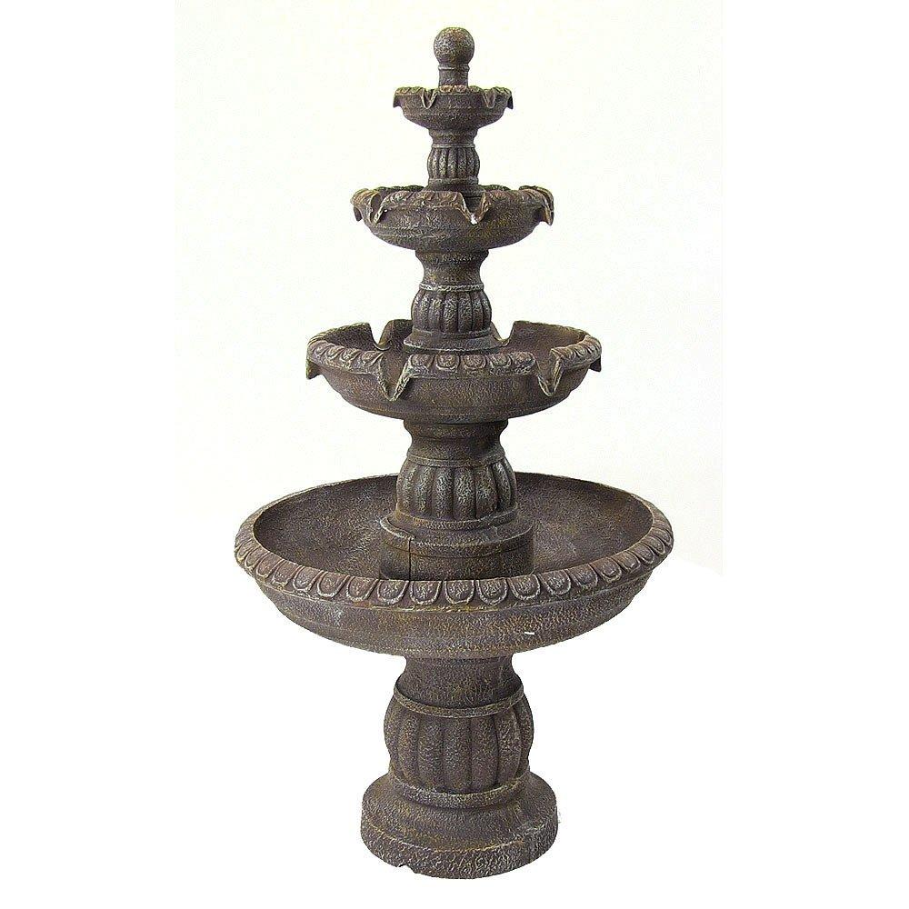 Sunnydaze Mediterranean 4-Tiered Outdoor Garden Water Fountain, 49 Inch Tall