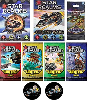 Star Realms Bundle of Base Game, Colony Wars Deck, the Gambit Set, and the United Set and 2 Star Fighter Buttons