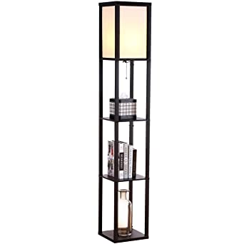 Brightech - Maxwell LED Shelf Floor Lamp - Modern Asian Style ...