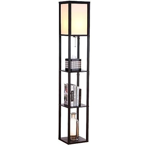 Brightech - Maxwell LED Shelf Floor Lamp - Modern Asian Style ...