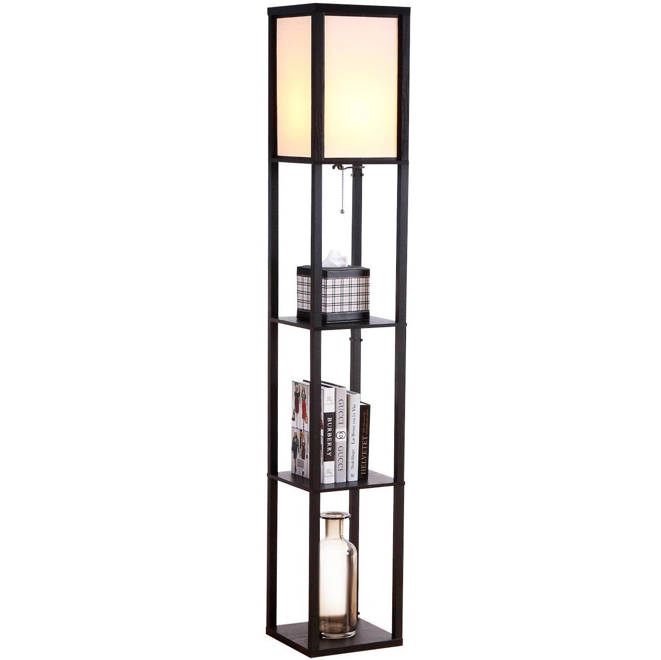 Brightech Maxwell - Alexa Compatible LED Shelf Floor Lamp - Modern Standing Light for Living Rooms & Bedrooms - Asian Wooden Frame with Open Box Display Shelves - Black