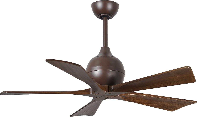 Matthews IR5-TB-WA-42 Irene 42 Outdoor Ceiling Fan with Remote Wall Control, 5 Wood Blades, Textured Bronze