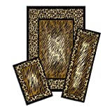 Achim Home Furnishings Capri 3-Piece Rug Set, Leopard Skin
