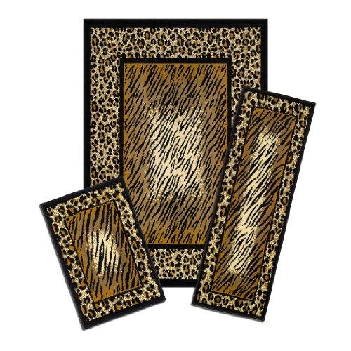 Achim Home Furnishings Capri 3 Piece Rug Set, Leopard Skin