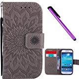 3d samsung galaxy s4 mini cases - Samsung Galaxy S4 Mini I9190 Case EMAXELER Stylish Wallet 3D Embossed Kickstand Flip Sun flower Three dimensional Cards Slot Cash Pockets PU Leather For Samsung S4 Mini Sun Gray