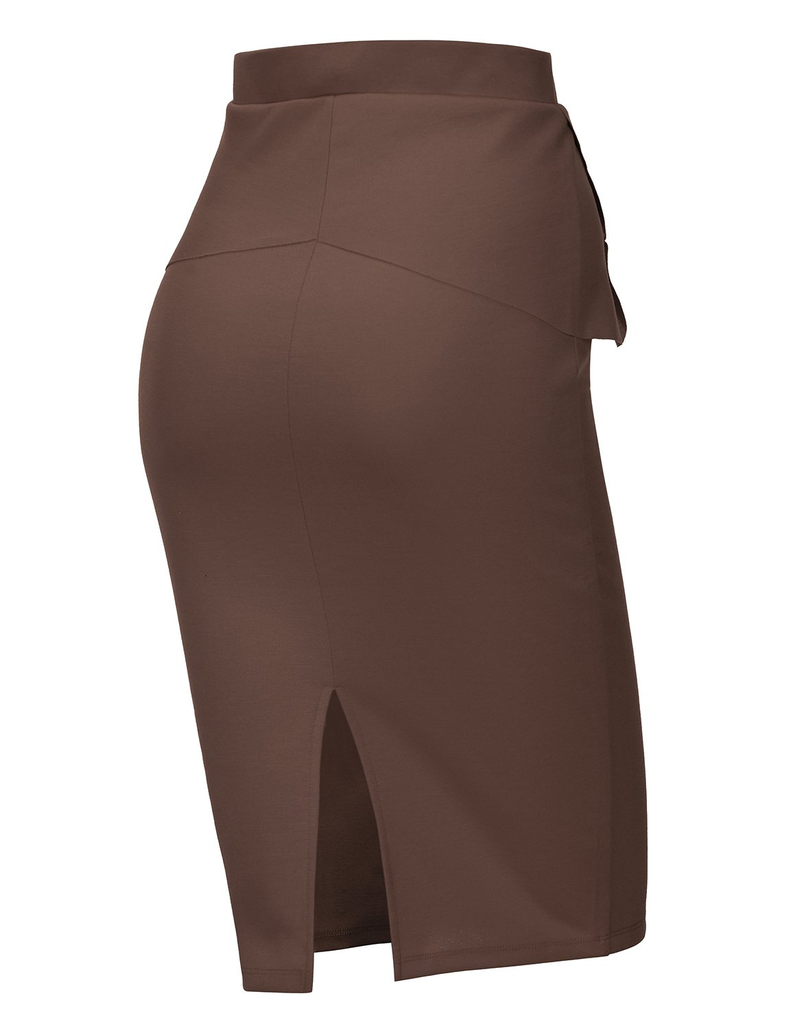 Regna X Womens high Waist Elastic Band Sexy Knee Length Skirts Brown XL by Regna X (Image #3)