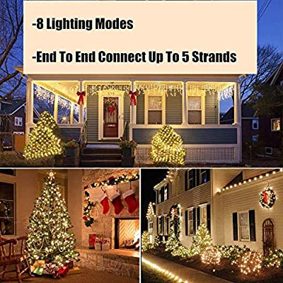 Tcamp Outdoor Warm White String Lights 68FT 200 LED Garland String Fairy Light 8 Mode Christmas Light Holiday Wedding Party [END to END Expandable] : Garden & Outdoor