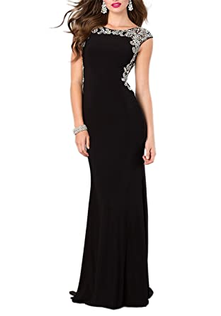 Miss Chics Women Evening Dresses Floor Length Party Gowns Sleeveless US Size 0 Black