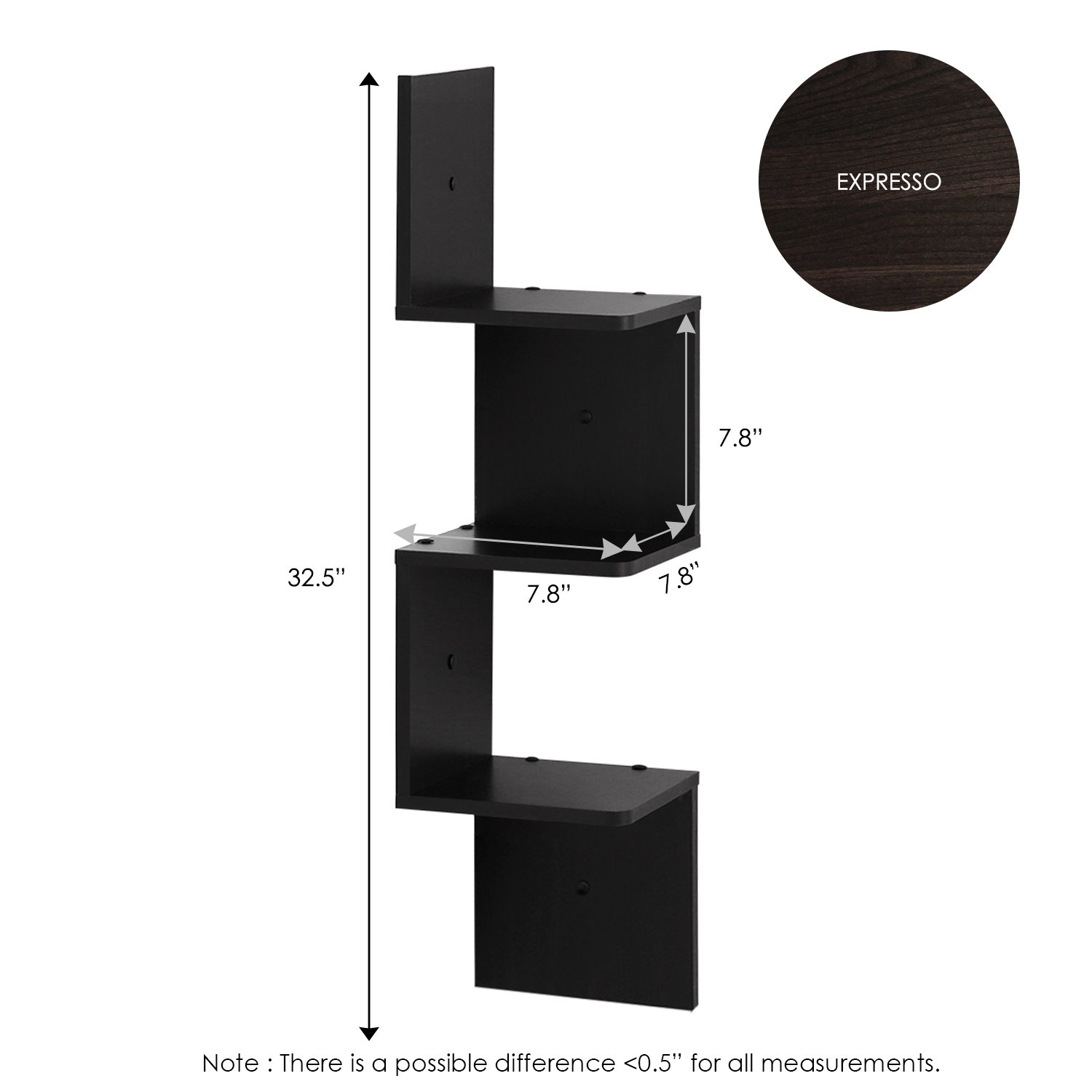 3-Tier Set of 2 FURINNO 2FR16126EX Radial Shelf Espresso