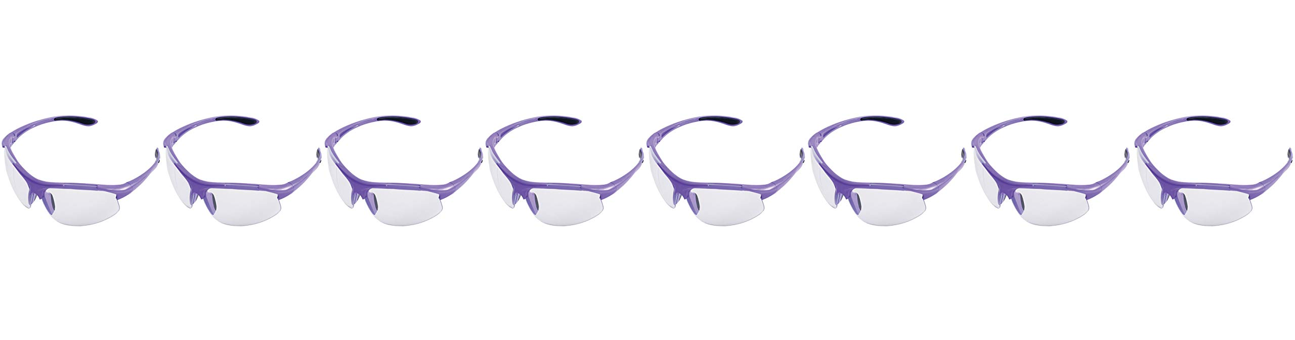 ERB Safety Products 18624 Ella Safety Glasses, Anti Scratch Clear Lens, 9.625'' Height, 2'' Wide, 4.5'' Length, Plastic, One Size, Purple (Еight Рack) by ERB