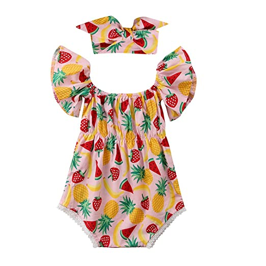 ce7c8cfccd35 Amazon.com  OUTGLE Infant Off Shoulder Onesies Newborn Baby Girl ...