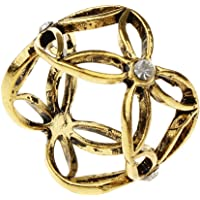 D DOLITY Vintage Womens Crystal Scarf Ring Clip Slide Buckle Hollow Flower Pattern Metallic Scarf Buckle Ring Clip…
