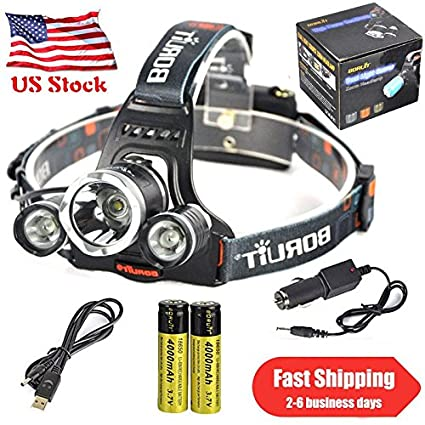 Amazon.com: BORUIT 10000LM 3 x XML T6 + 2R5 LED Headlamp ...