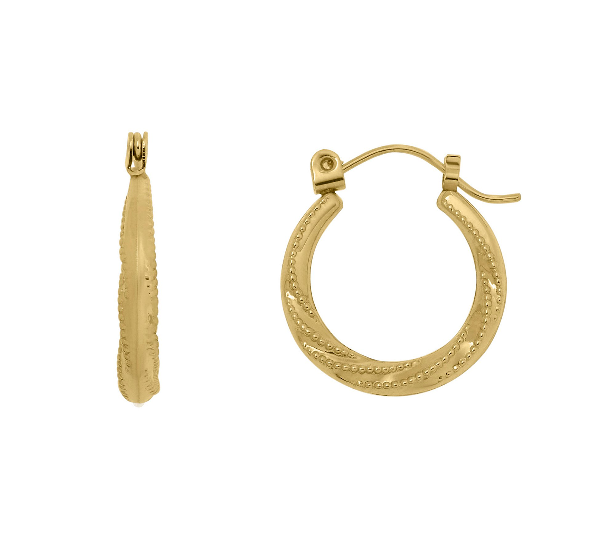 Pattern Hoop Earrings in 14K Yellow Gold