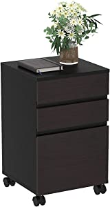 YITAHOME 3 Drawer Wood File Cabinet, Mobile Desk Drawer Storage Cabinet with Casters Under Desk for Home Office Organization, Dark Walnut